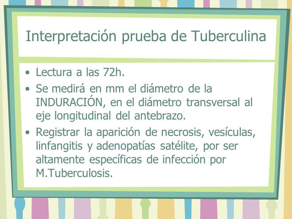Interpretación prueba de Tuberculina Lectura a las 72h. Se medirá en mm el diámetro de la INDURACIÓN, en el diámetro transversal al eje longitudinal d