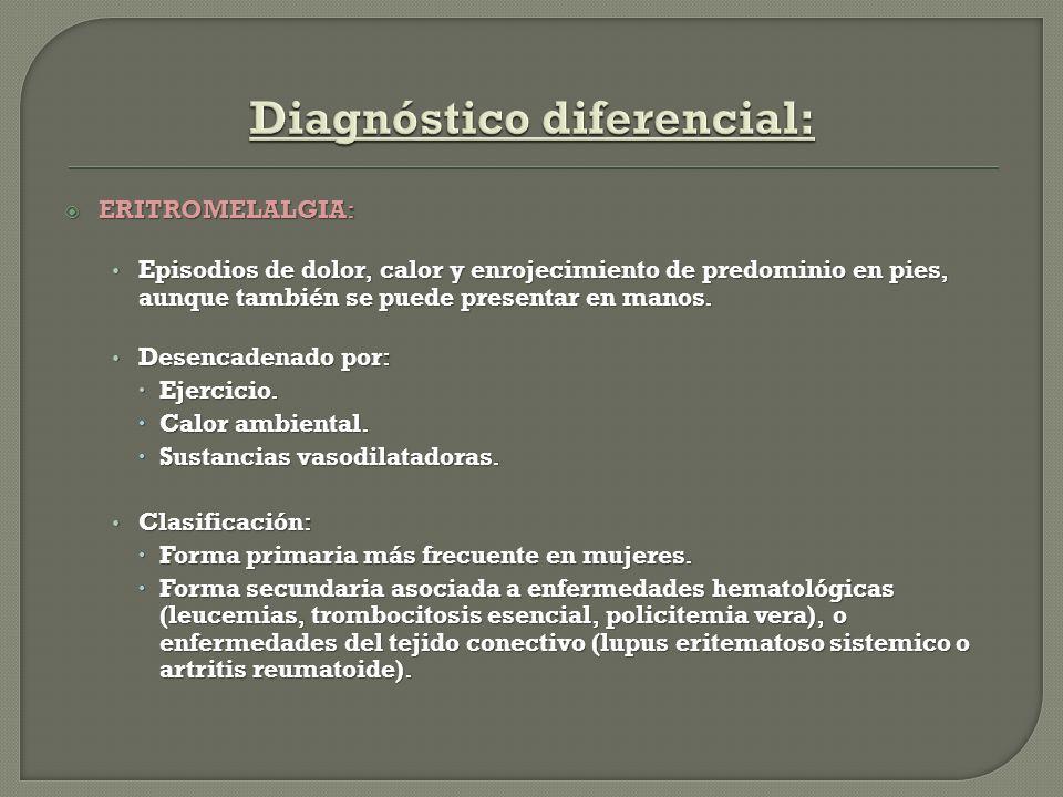 ERITROMELALGIA: ERITROMELALGIA: Episodios de dolor, calor y enrojecimiento de predominio en pies, aunque también se puede presentar en manos. Episodio