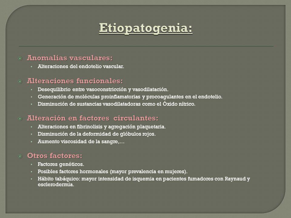 Anomalías vasculares: Anomalías vasculares: Alteraciones del endotelio vascular. Alteraciones funcionales: Alteraciones funcionales: Desequilibrio ent