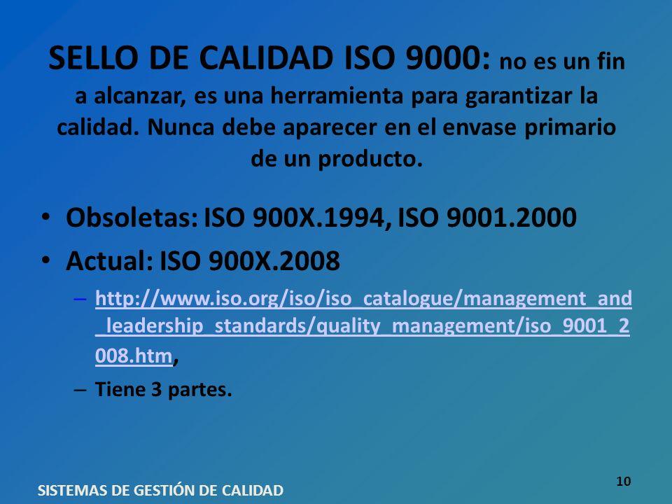 SELLO DE CALIDAD ISO 9000: no es un fin a alcanzar, es una herramienta para garantizar la calidad. Nunca debe aparecer en el envase primario de un pro