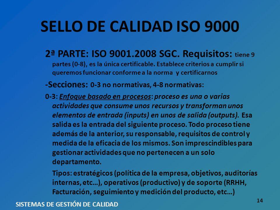 SELLO DE CALIDAD ISO 9000 2ª PARTE: ISO 9001.2008 SGC. Requisitos: tiene 9 partes (0-8), es la única certificable. Establece criterios a cumplir si qu