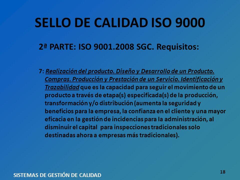 SELLO DE CALIDAD ISO 9000 2ª PARTE: ISO 9001.2008 SGC. Requisitos: 7: Realización del producto. Diseño y Desarrollo de un Producto. Compras. Producció
