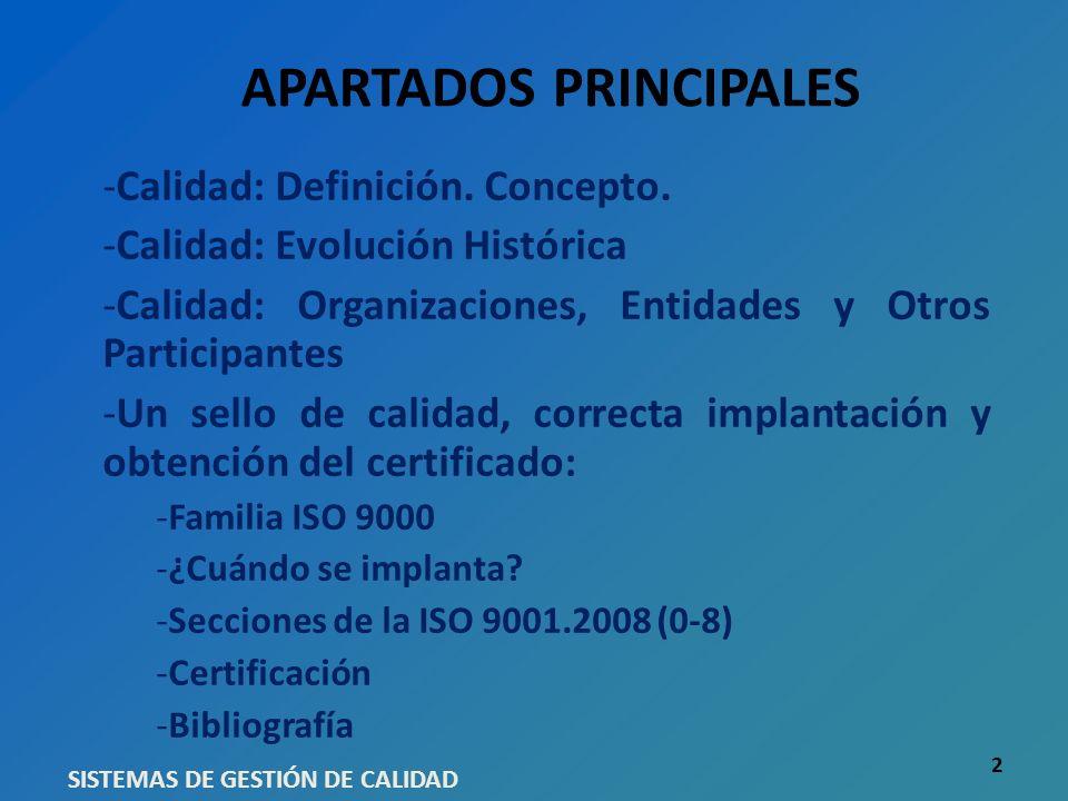 APARTADOS PRINCIPALES -Calidad: Definición. Concepto. -Calidad: Evolución Histórica -Calidad: Organizaciones, Entidades y Otros Participantes -Un sell