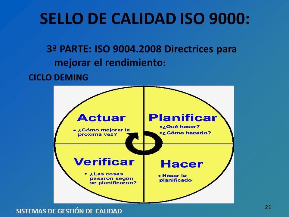SELLO DE CALIDAD ISO 9000: 3ª PARTE: ISO 9004.2008 Directrices para mejorar el rendimiento : CICLO DEMING SISTEMAS DE GESTIÓN DE CALIDAD 21