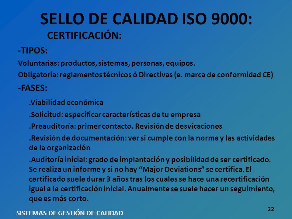 SELLO DE CALIDAD ISO 9000: CERTIFICACIÓN: -TIPOS: Voluntarias: productos, sistemas, personas, equipos. Obligatoria: reglamentos técnicos ó Directivas