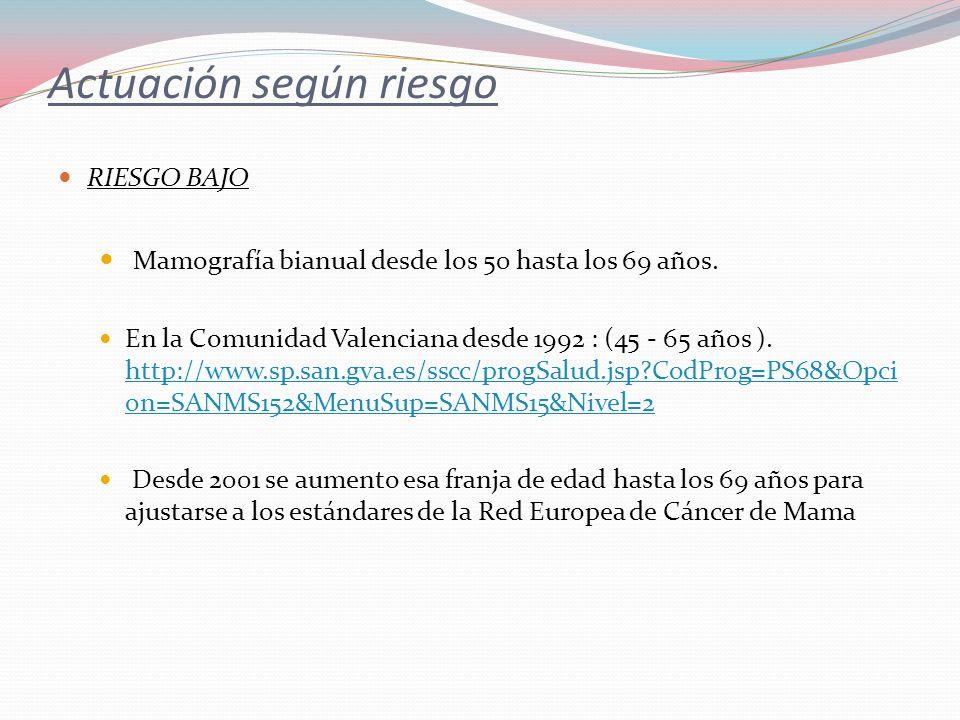 Actuación según riesgo RIESGO BAJO Mamografía bianual desde los 50 hasta los 69 años. En la Comunidad Valenciana desde 1992 : (45 - 65 años ). http://