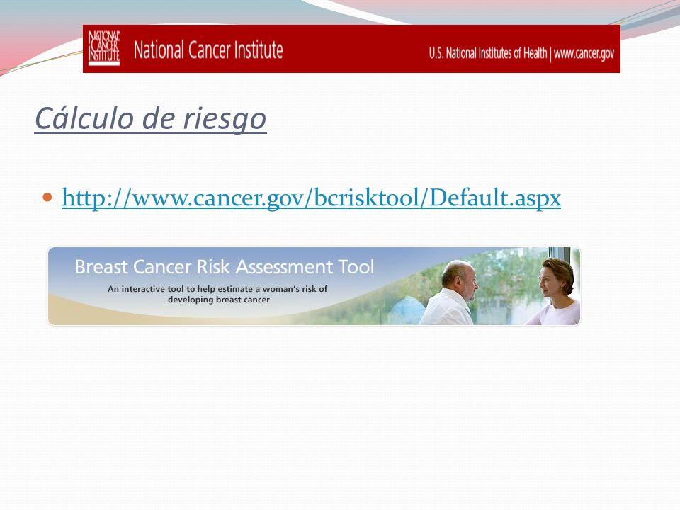 Cálculo de riesgo http://www.cancer.gov/bcrisktool/Default.aspx