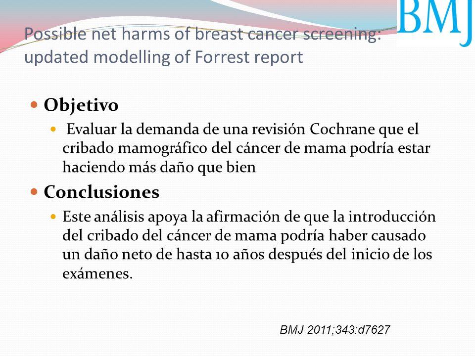 Possible net harms of breast cancer screening: updated modelling of Forrest report Objetivo Evaluar la demanda de una revisión Cochrane que el cribado