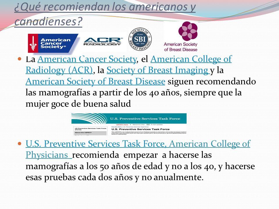 ¿Qué recomiendan los americanos y canadienses? La American Cancer Society, el American College of Radiology (ACR), la Society of Breast Imaging y la A