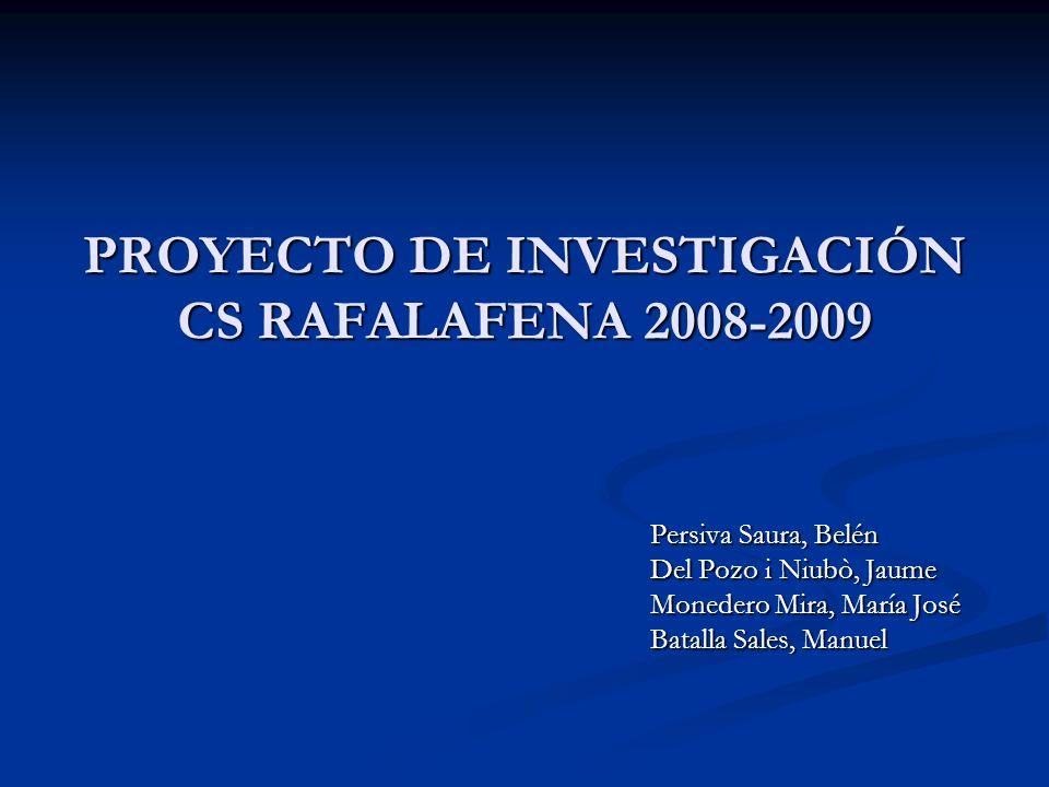 PROYECTO DE INVESTIGACIÓN CS RAFALAFENA 2008-2009 Persiva Saura, Belén Del Pozo i Niubò, Jaume Monedero Mira, María José Batalla Sales, Manuel