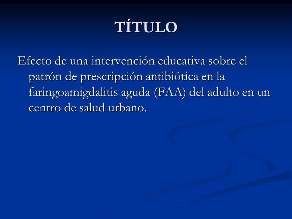 TÍTULO Efecto de una intervención educativa sobre el patrón de prescripción antibiótica en la faringoamigdalitis aguda (FAA) del adulto en un centro d