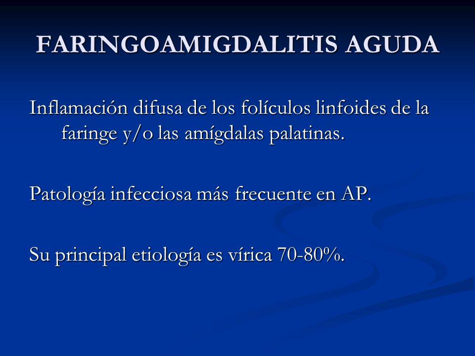 FARINGOAMIGDALITIS AGUDA Inflamación difusa de los folículos linfoides de la faringe y/o las amígdalas palatinas. Patología infecciosa más frecuente e