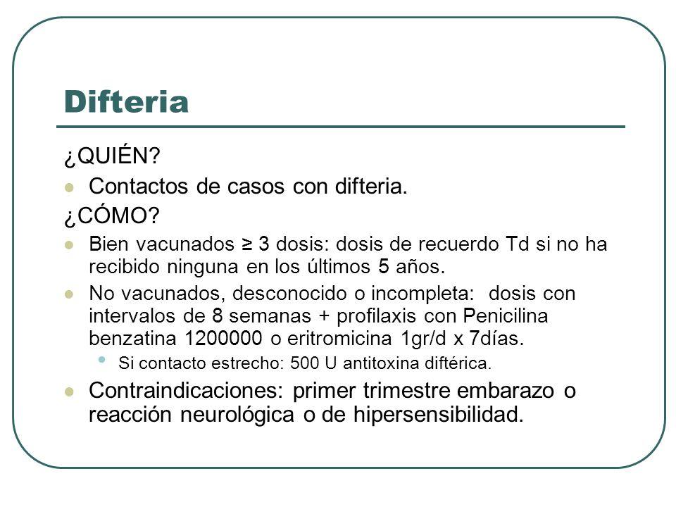 Difteria ¿QUIÉN? Contactos de casos con difteria. ¿CÓMO? Bien vacunados 3 dosis: dosis de recuerdo Td si no ha recibido ninguna en los últimos 5 años.
