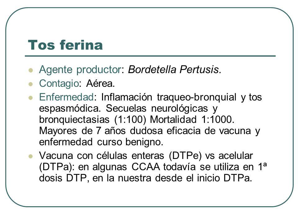 Tos ferina Agente productor: Bordetella Pertusis. Contagio: Aérea. Enfermedad: Inflamación traqueo-bronquial y tos espasmódica. Secuelas neurológicas