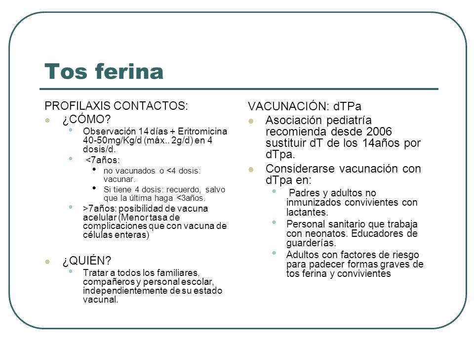 Tos ferina PROFILAXIS CONTACTOS: ¿CÓMO? Observación 14 días + Eritromicina 40-50mg/Kg/d (máx.. 2g/d) en 4 dosis/d. <7años: no vacunados o <4 dosis: va