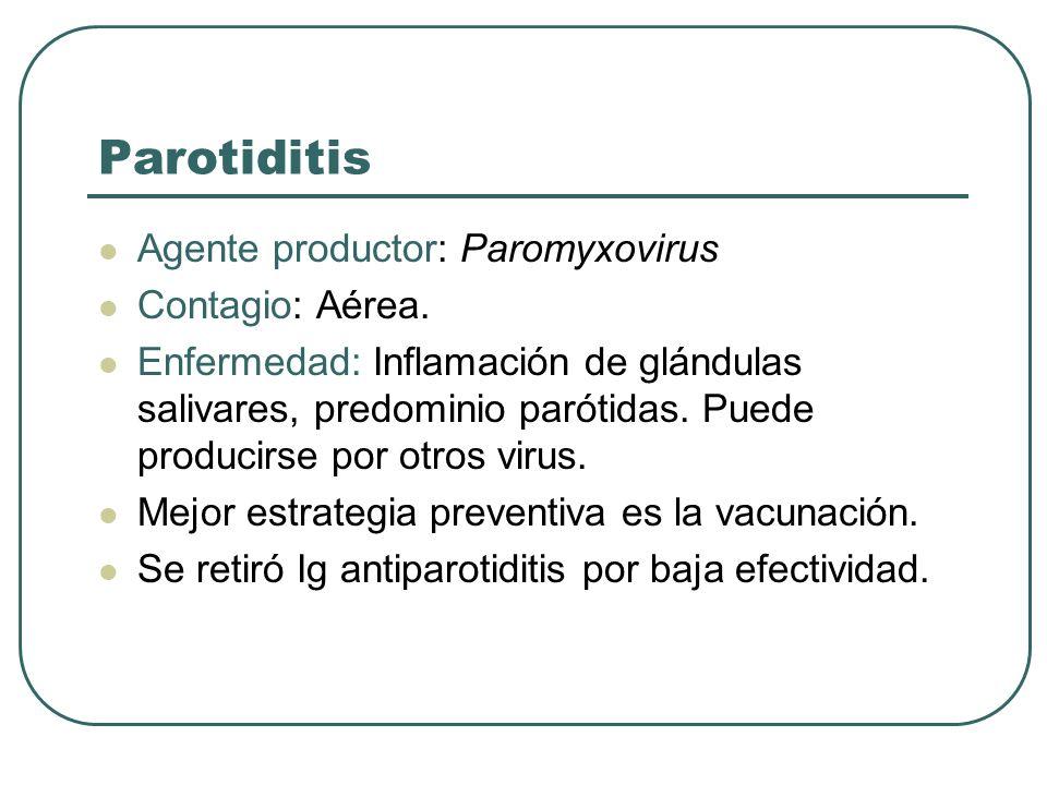 Parotiditis Agente productor: Paromyxovirus Contagio: Aérea. Enfermedad: Inflamación de glándulas salivares, predominio parótidas. Puede producirse po