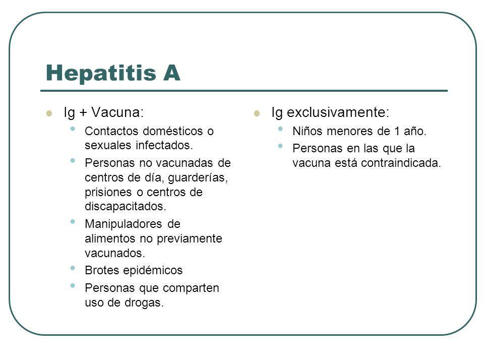 Hepatitis A Ig + Vacuna: Contactos domésticos o sexuales infectados. Personas no vacunadas de centros de día, guarderías, prisiones o centros de disca