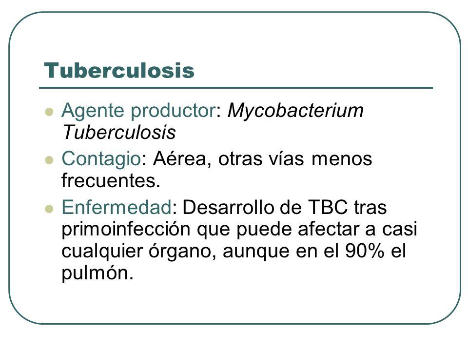 Tuberculosis Agente productor: Mycobacterium Tuberculosis Contagio: Aérea, otras vías menos frecuentes. Enfermedad: Desarrollo de TBC tras primoinfecc