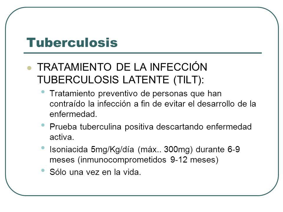 Tuberculosis TRATAMIENTO DE LA INFECCIÓN TUBERCULOSIS LATENTE (TILT): Tratamiento preventivo de personas que han contraído la infección a fin de evita