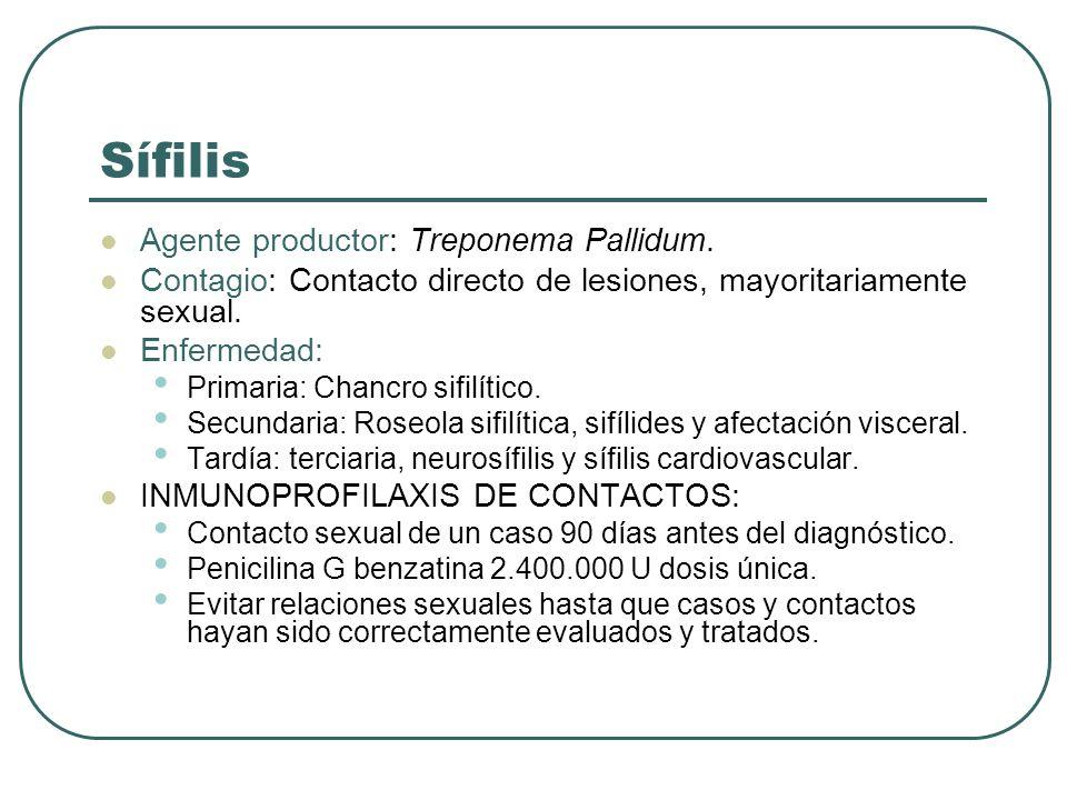 Sífilis Agente productor: Treponema Pallidum. Contagio: Contacto directo de lesiones, mayoritariamente sexual. Enfermedad: Primaria: Chancro sifilític