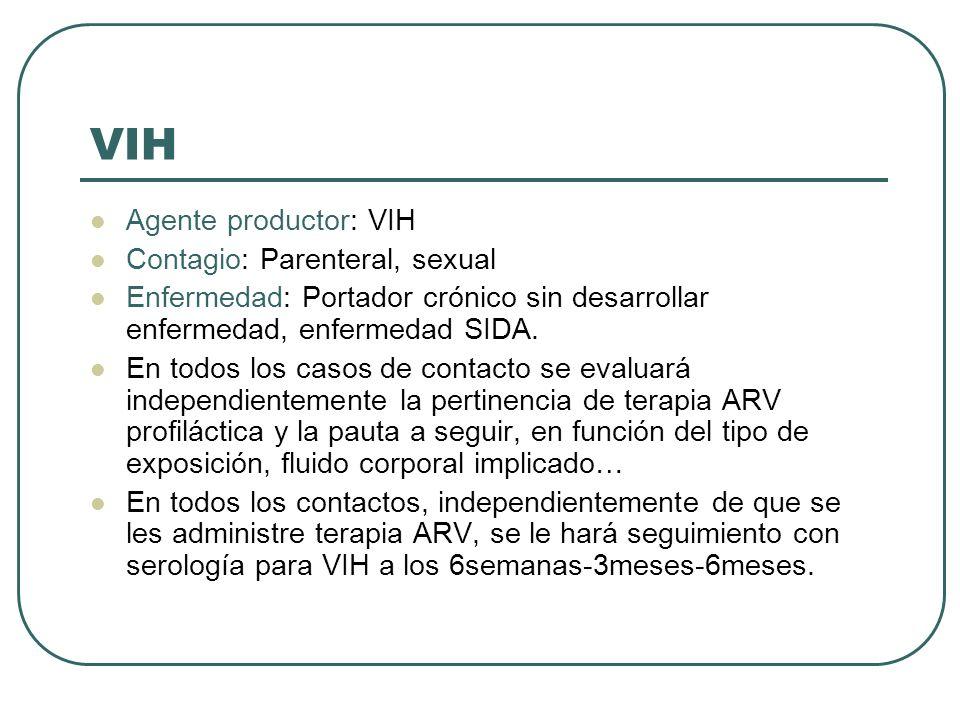 VIH Agente productor: VIH Contagio: Parenteral, sexual Enfermedad: Portador crónico sin desarrollar enfermedad, enfermedad SIDA. En todos los casos de