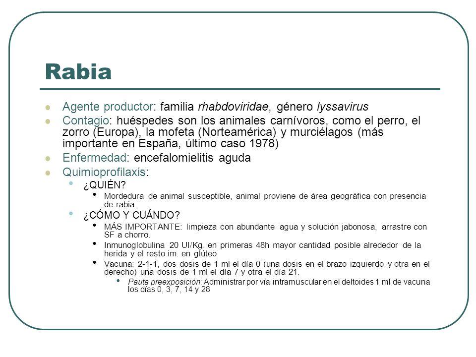 Rabia Agente productor: familia rhabdoviridae, género lyssavirus Contagio: huéspedes son los animales carnívoros, como el perro, el zorro (Europa), la