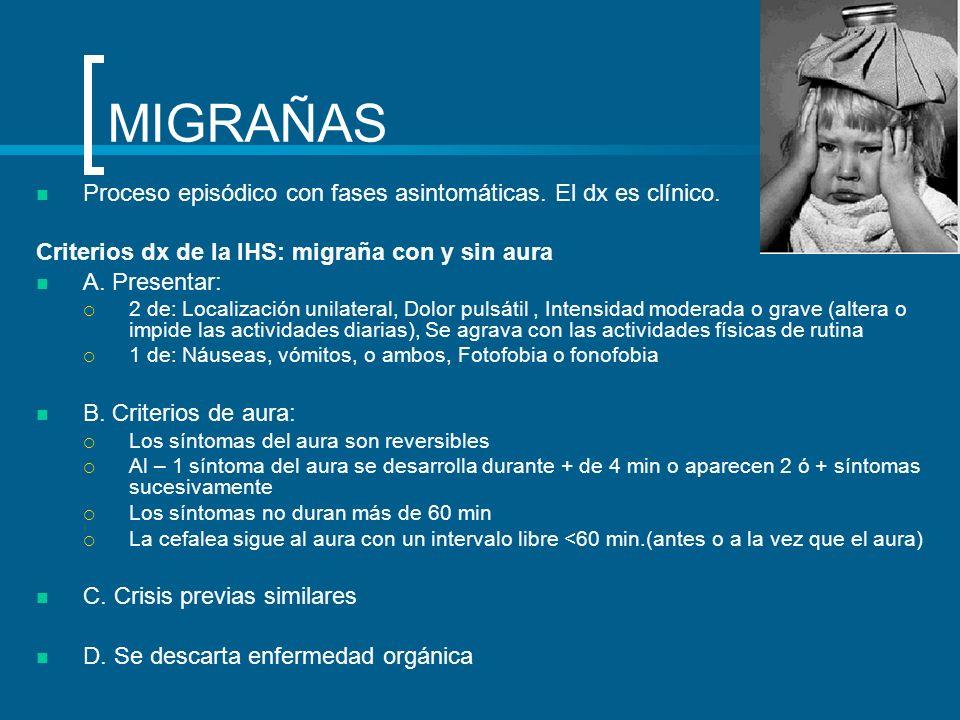 MIGRAÑAS Proceso episódico con fases asintomáticas. El dx es clínico. Criterios dx de la IHS: migraña con y sin aura A. Presentar: 2 de: Localización
