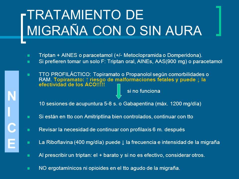 TRATAMIENTO DE MIGRAÑA CON O SIN AURA Triptan + AINES o paracetamol (+/- Metoclopramida o Domperidona). Si prefieren tomar un solo F: Triptan oral, AI
