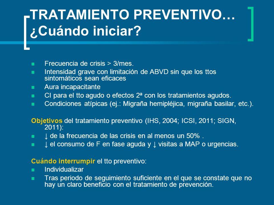 TRATAMIENTO PREVENTIVO… ¿Cuándo iniciar? Frecuencia de crisis > 3/mes. Intensidad grave con limitación de ABVD sin que los ttos sintomáticos sean efic