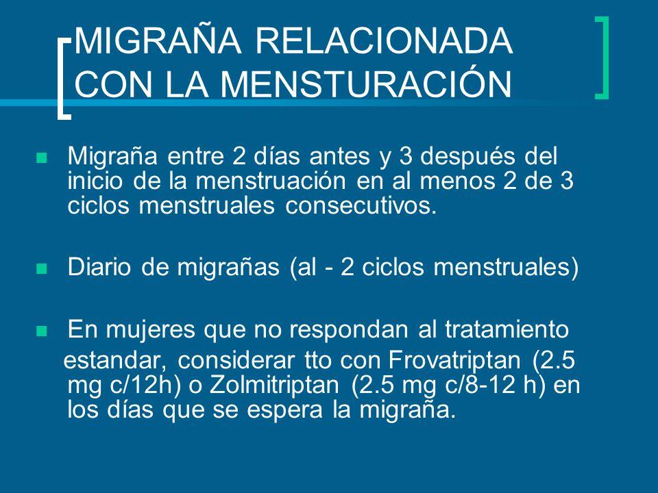 MIGRAÑA RELACIONADA CON LA MENSTURACIÓN Migraña entre 2 días antes y 3 después del inicio de la menstruación en al menos 2 de 3 ciclos menstruales con