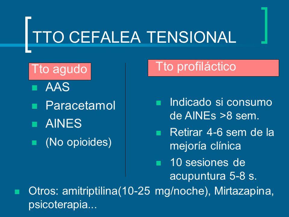 TTO CEFALEA TENSIONAL Tto agudo AAS Paracetamol AINES (No opioides) Tto profiláctico Indicado si consumo de AINEs >8 sem. Retirar 4-6 sem de la mejorí