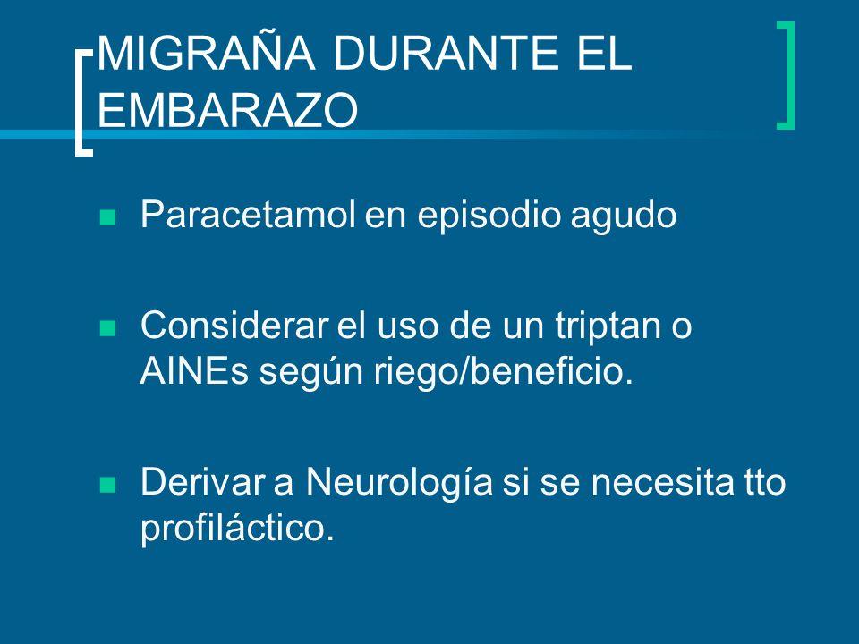 MIGRAÑA DURANTE EL EMBARAZO Paracetamol en episodio agudo Considerar el uso de un triptan o AINEs según riego/beneficio. Derivar a Neurología si se ne