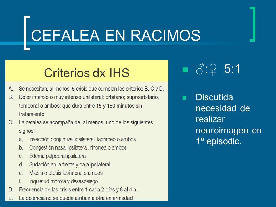 CEFALEA EN RACIMOS : 5:1 Discutida necesidad de realizar neuroimagen en 1º episodio. Criterios dx IHS