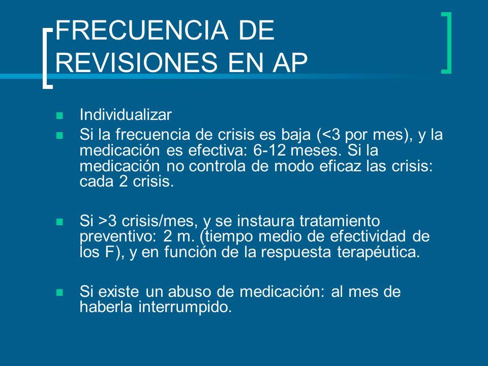 FRECUENCIA DE REVISIONES EN AP Individualizar Si la frecuencia de crisis es baja (<3 por mes), y la medicación es efectiva: 6-12 meses. Si la medicaci