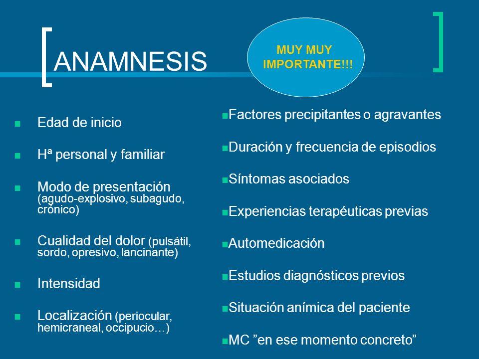 ANAMNESIS Edad de inicio Hª personal y familiar Modo de presentación (agudo-explosivo, subagudo, crónico) Cualidad del dolor (pulsátil, sordo, opresiv