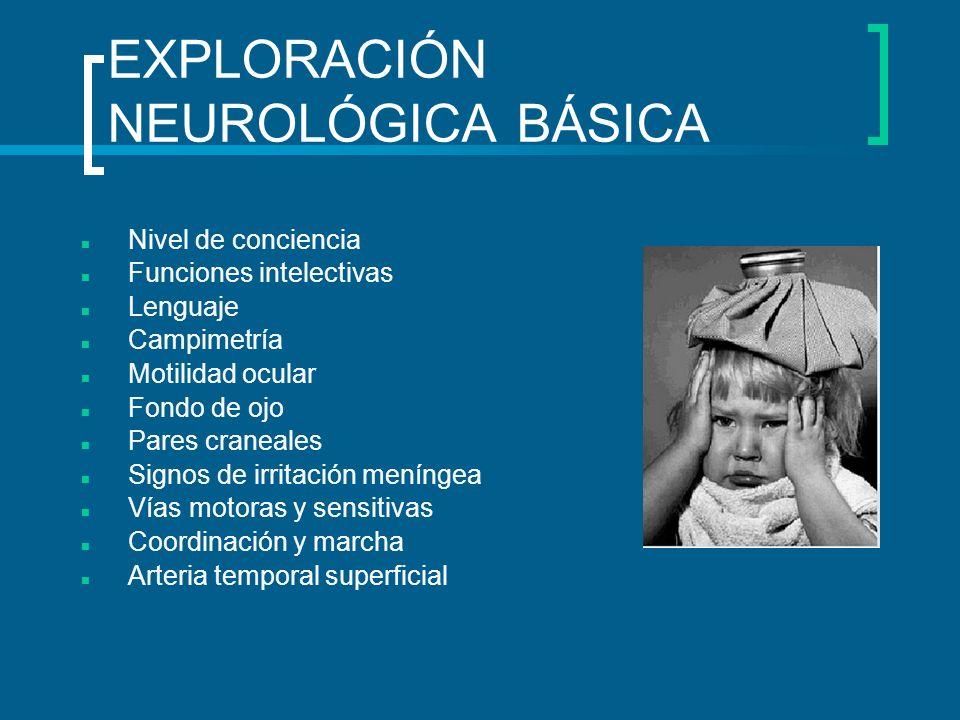 EXPLORACIÓN NEUROLÓGICA BÁSICA Nivel de conciencia Funciones intelectivas Lenguaje Campimetría Motilidad ocular Fondo de ojo Pares craneales Signos de
