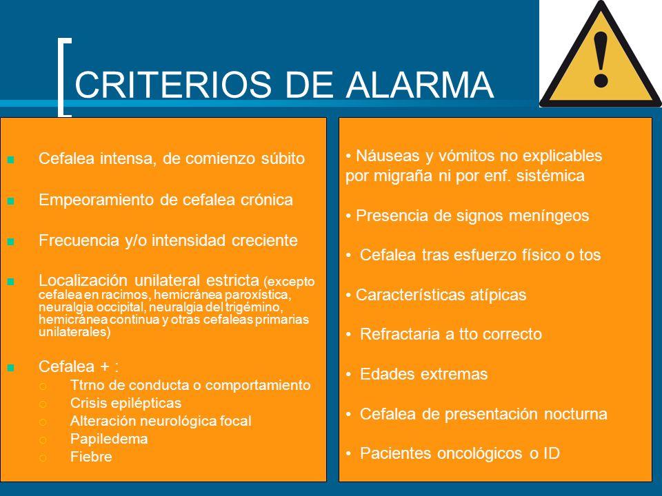 TTO CEFALEA TENSIONAL Tto agudo AAS Paracetamol AINES (No opioides) Tto profiláctico Indicado si consumo de AINEs >8 sem.