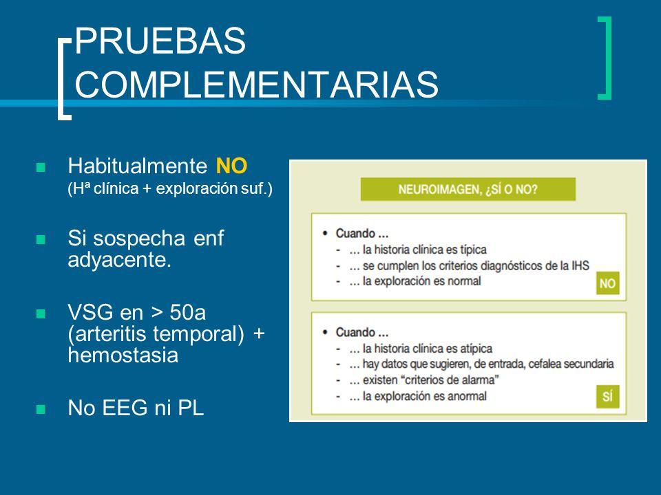 PRUEBAS COMPLEMENTARIAS Habitualmente NO (Hª clínica + exploración suf.) Si sospecha enf adyacente. VSG en > 50a (arteritis temporal) + hemostasia No