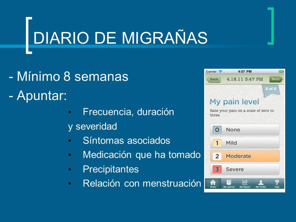 DIARIO DE MIGRAÑAS - Mínimo 8 semanas - Apuntar: Frecuencia, duración y severidad Síntomas asociados Medicación que ha tomado Precipitantes Relación c