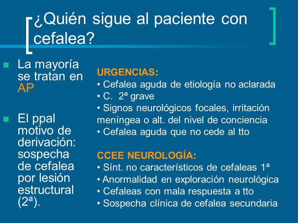 ¿Quién sigue al paciente con cefalea? La mayoría se tratan en AP El ppal motivo de derivación: sospecha de cefalea por lesión estructural (2ª). URGENC