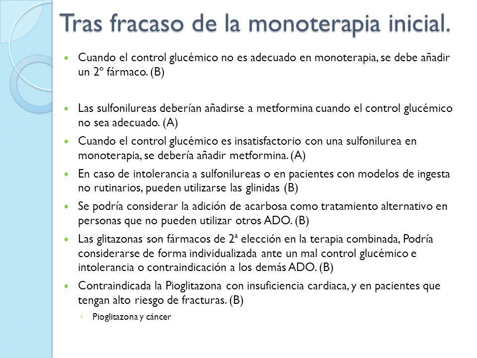 Tras fracaso de la monoterapia inicial. Cuando el control glucémico no es adecuado en monoterapia, se debe añadir un 2º fármaco. (B) Las sulfonilureas