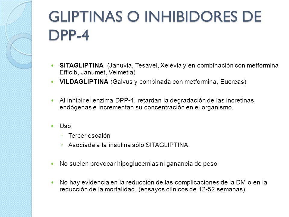 GLIPTINAS O INHIBIDORES DE DPP-4 SITAGLIPTINA (Januvia, Tesavel, Xelevia y en combinación con metformina Efficib, Janumet, Velmetia) VILDAGLIPTINA (Ga