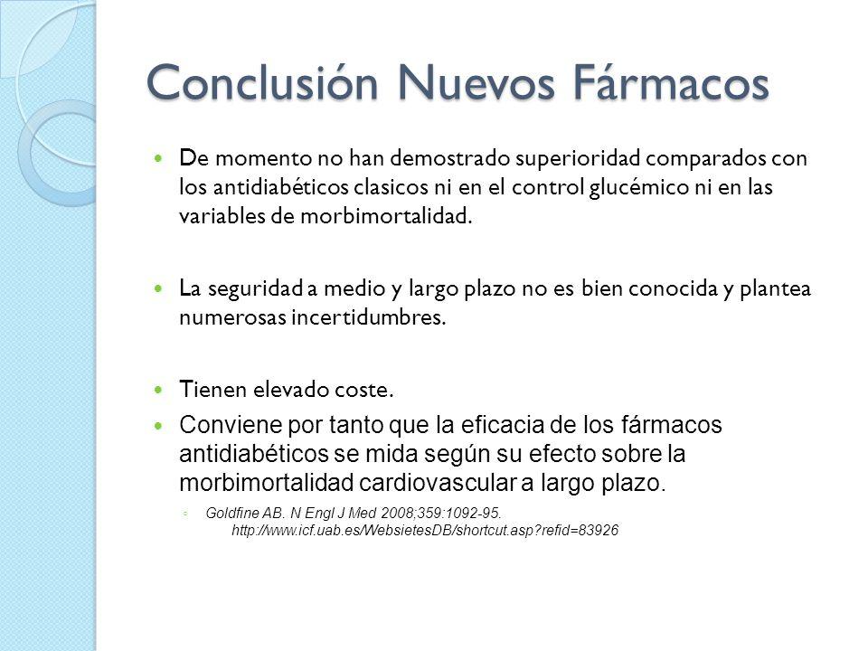 Conclusión Nuevos Fármacos De momento no han demostrado superioridad comparados con los antidiabéticos clasicos ni en el control glucémico ni en las v
