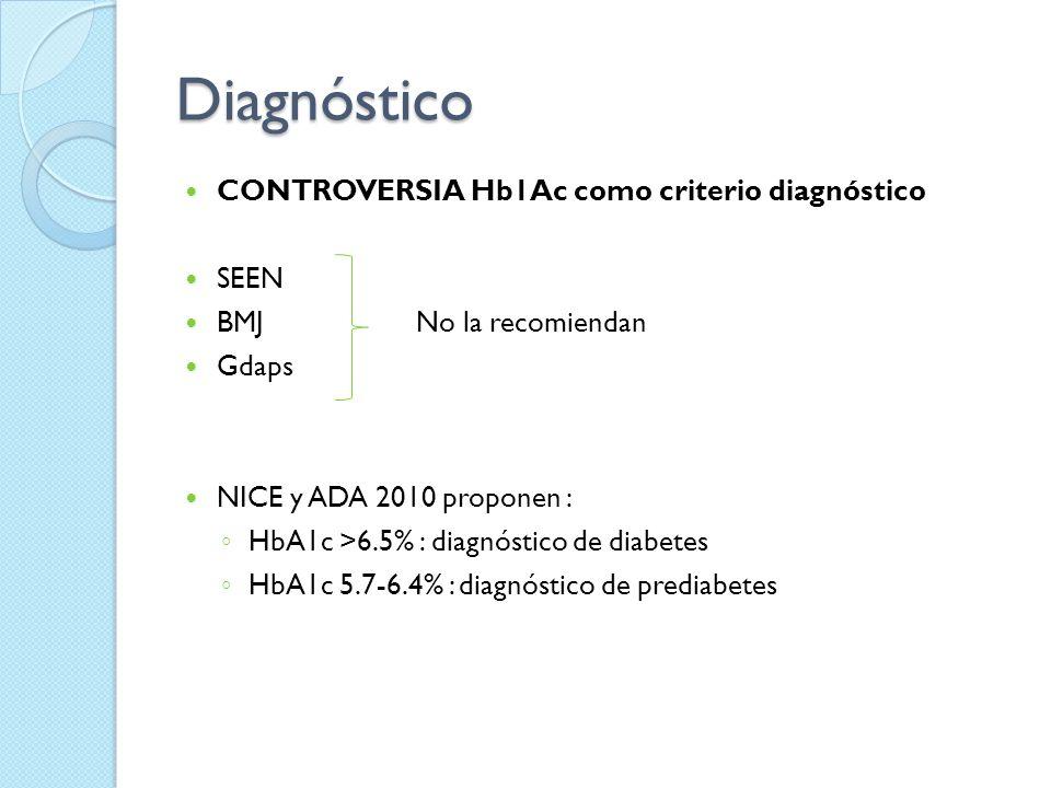 Diagnóstico CONTROVERSIA Hb1Ac como criterio diagnóstico SEEN BMJ No la recomiendan Gdaps NICE y ADA 2010 proponen : HbA1c >6.5% : diagnóstico de diab