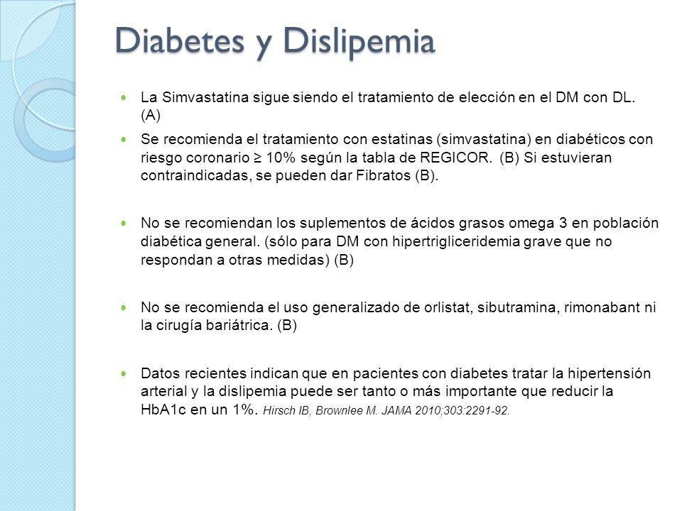 Diabetes y Dislipemia La Simvastatina sigue siendo el tratamiento de elección en el DM con DL. (A) Se recomienda el tratamiento con estatinas (simvast