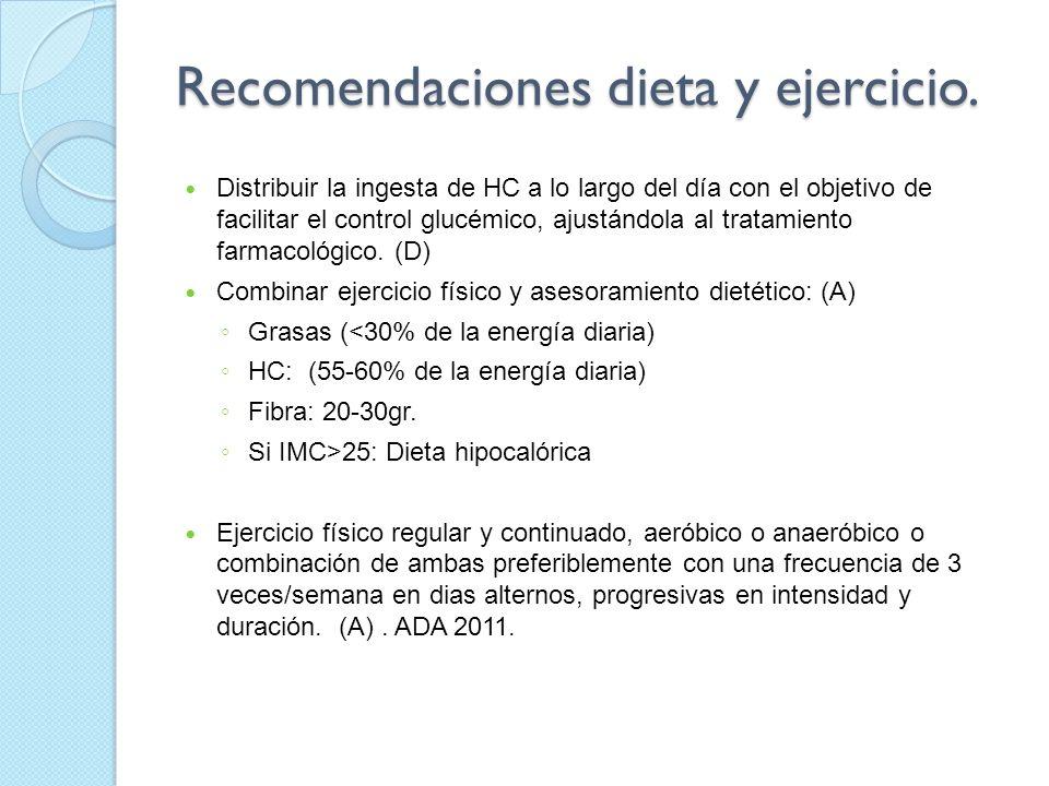Recomendaciones dieta y ejercicio. Distribuir la ingesta de HC a lo largo del día con el objetivo de facilitar el control glucémico, ajustándola al tr