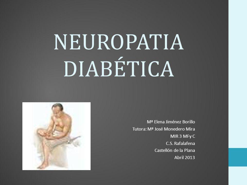 Introducción: Definición: la presencia de signos y síntomas de disfunción del sistema nervioso periférico en pacientes con diabetes, tras la exclusión de otras causas ( Involucra a nervios periféricos, somáticos y autonómicos.) Es la complicación sintomática más frecuente de la diabetes mellitus.