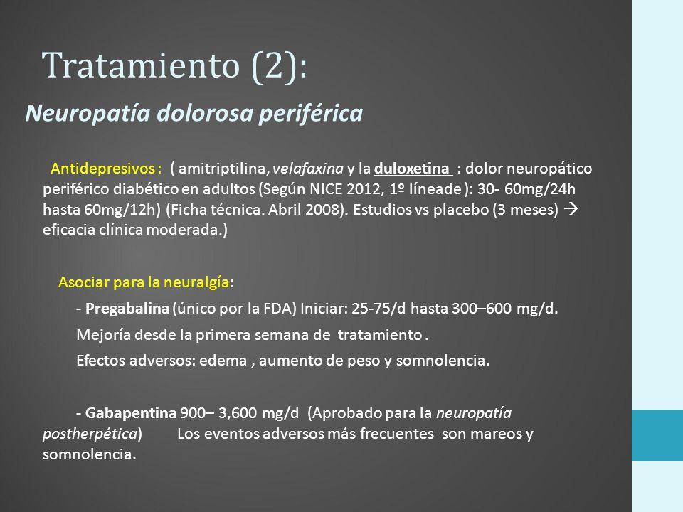 Tratamiento (2): Antidepresivos : ( amitriptilina, velafaxina y la duloxetina : dolor neuropático periférico diabético en adultos (Según NICE 2012, 1º