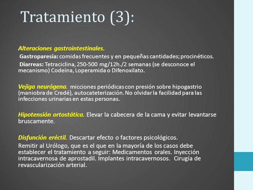 Tratamiento (3): Alteraciones gastrointestinales. Gastroparesia: comidas frecuentes y en pequeñas cantidades; procinéticos. Diarreas: Tetraciclina, 25