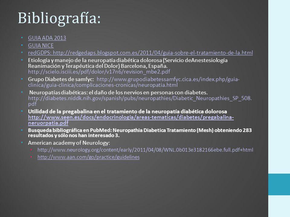 Bibliografía: GUIA ADA 2013 GUIA NICE redGDPS: http://redgedaps.blogspot.com.es/2011/04/guia-sobre-el-tratamiento-de-la.html Etiología y manejo de la